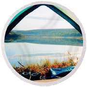 Beautiful View Of Calm Lake Looking Out Of Tent Round Beach Towel