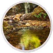Beautiful View Of Upper Falls Located In Uvas Canyon County Park Forest Reflection Round Beach Towel