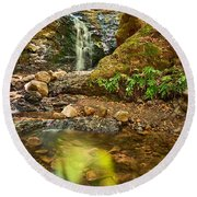 Beautiful View Of Upper Falls Located In Uvas Canyon County Park. Round Beach Towel