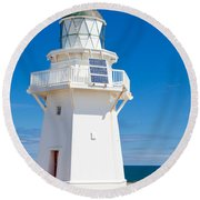 Beautiful Wairapa Point Lighthouse The Catlins Nz Round Beach Towel