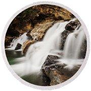 Beautiful Waterfall In Western Ghats Karnataka India Round Beach Towel