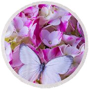 Beautiful White Butterfly Round Beach Towel