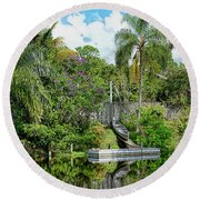 Beautiful Winter Day In Florida  Round Beach Towel