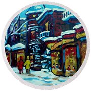Beautiful Winter Evening Round Beach Towel