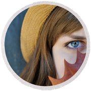 Young Woman And Leaf Round Beach Towel