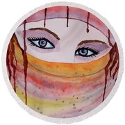 Beautiful Woman With Niqab Watercolor Painting Round Beach Towel