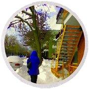 Beautiful Yellow Staircase Verdun Snow Scene Montreal Art Colors Of Quebec Carole Spandau Round Beach Towel