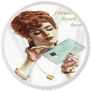 Beautiful Young Woman Holding Love Letter Vintage Vector Round Beach Towel