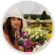 Beautiful Young Woman In Paris Round Beach Towel