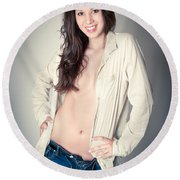 Beautiful Young Woman Round Beach Towel