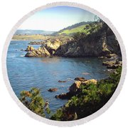 Beautifully Rugged Shoreline At Point Lobos Two Round Beach Towel