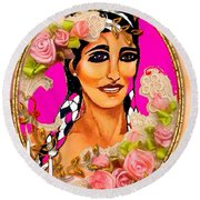Beauty And Flowers 1 Round Beach Towel