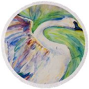 Beauty And Grace Swan Round Beach Towel