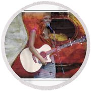 Beauty And Her Guitar Round Beach Towel