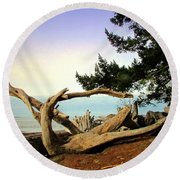 Beauty And The Beach Round Beach Towel