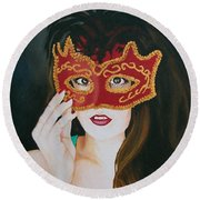 Beauty And The Mask Round Beach Towel