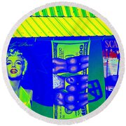 Beauty Buns And Scars Round Beach Towel