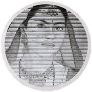 A Beautiful Woman Round Beach Towel