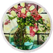 Beauty In The Window Round Beach Towel