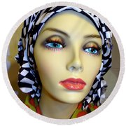 Beauty In Turban Round Beach Towel