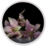 Beauty Of Decaying Lilies Round Beach Towel