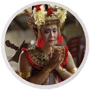 Beauty Of The Barong Dance 1 Round Beach Towel
