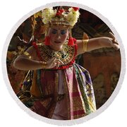 Beauty Of The Barong Dance 2 Round Beach Towel