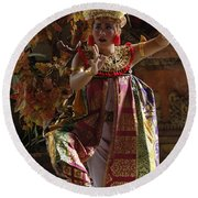 Beauty Of The Barong Dance 3 Round Beach Towel