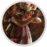 Beauty Of The Barong Dance 4 Round Beach Towel