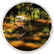 Beauty Of The Bog Round Beach Towel by Karen Wiles