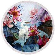 Beauty Of The Lake Hand Embroidery Round Beach Towel