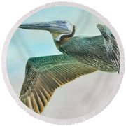 Beauty Of The Pelican Round Beach Towel