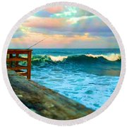Beauty Of The Pier Round Beach Towel