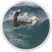 Beauty On A Surf Board Round Beach Towel