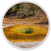 Beauty Pool In Upper Geyser Basin In Yellowstone National Park Round Beach Towel