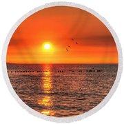 Beauty Sunset Round Beach Towel