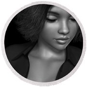 Beauty Was Her Name Bw Round Beach Towel