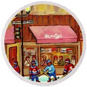 Beauty's Restaurant Paintings Of Plateau Montreal Winter Scenes Hockey Art Carole Spandau  Round Beach Towel