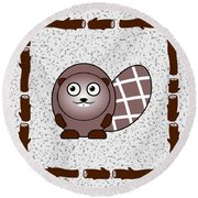 Beaver - Animals - Art For Kids Round Beach Towel
