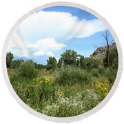 Beaver Creek Valley In Colorado Round Beach Towel