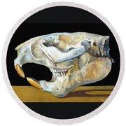 Beaver Skull 1 Round Beach Towel