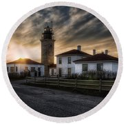 Beavertail Lighthouse Sunset Round Beach Towel by Joan Carroll