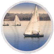 Becalmed Round Beach Towel