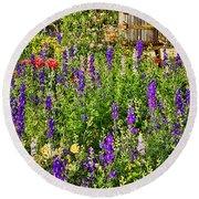 Becker Vineyards' Flower Garden Round Beach Towel