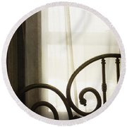 Bed By The Window Round Beach Towel