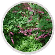 Bed Of Bleeding Hearts Round Beach Towel