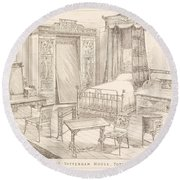 Bedchamber Furniture In The Japanese Round Beach Towel