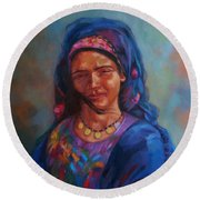 Bedouin Woman Round Beach Towel