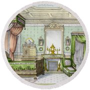 Bedroom In The Renaissance Style Round Beach Towel