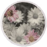 Bee And Daisies In Partial Color Round Beach Towel